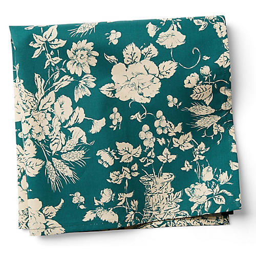 S/2 Panier Dinner Napkins, Green/White