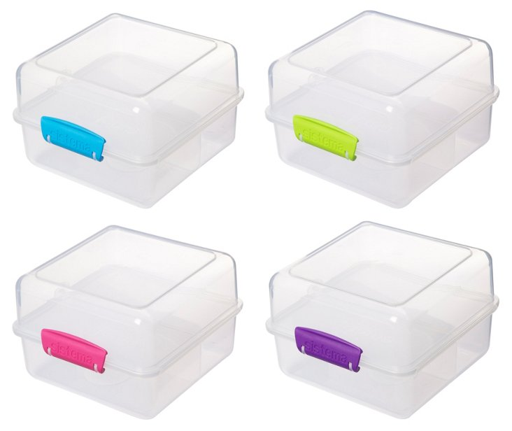S/4 Assorted Lunch-To-Go Cube Containers