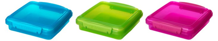 S/3 Assorted Sandwich Containers