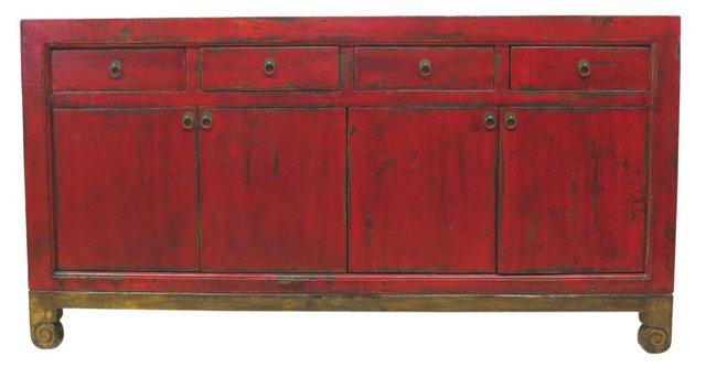 Thalia 4-Door Sideboard, Red/Gold