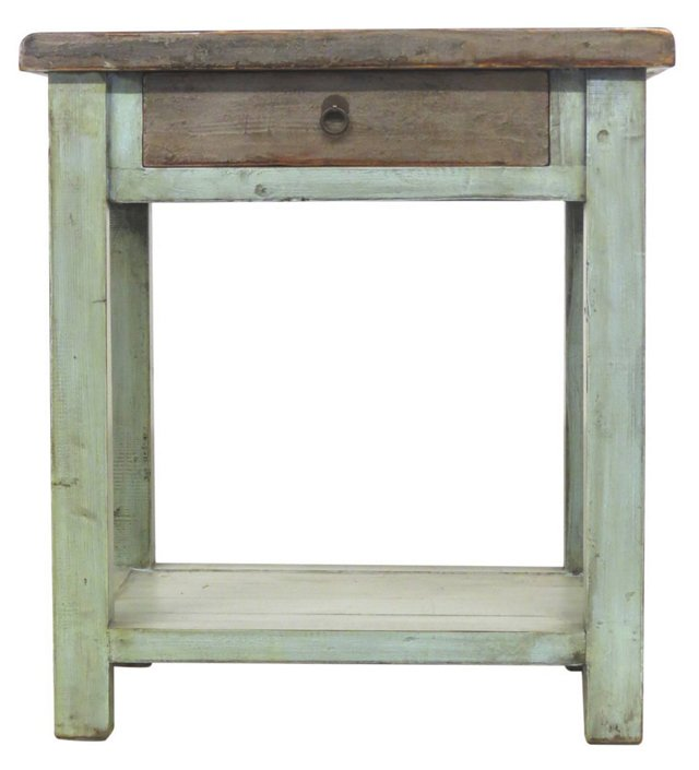 Beckett End Table, Mint/Brown