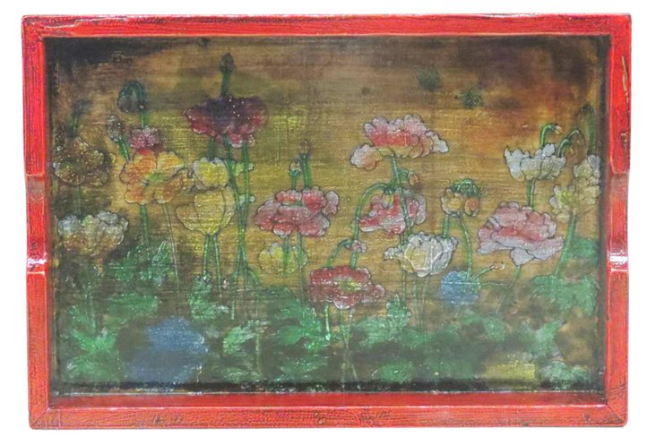 Floral Lacquered Elm Serving Tray, Multi