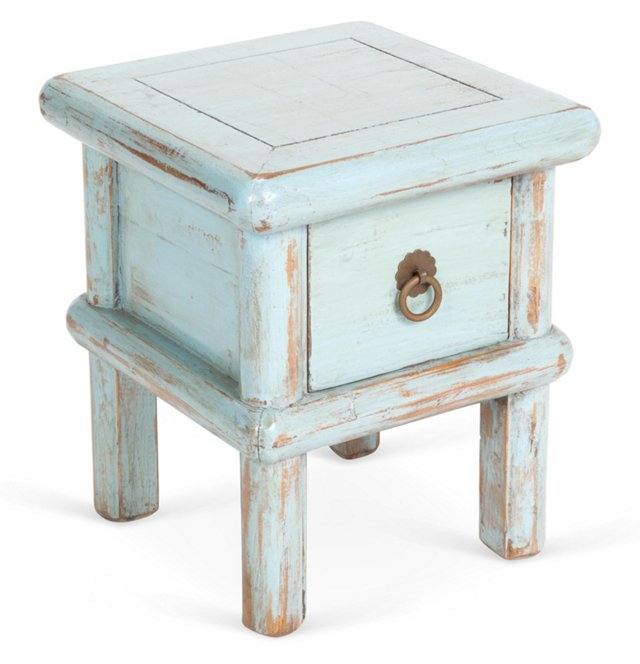 Clem 1-Drawer Stool, Blue