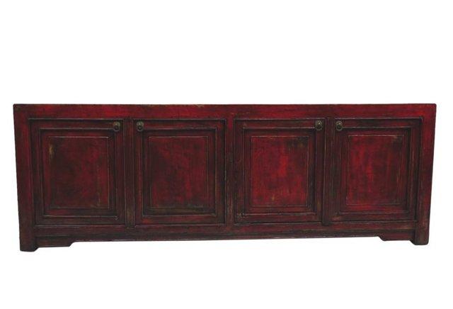 Caitlin 4-Door Low Media Cabinet, Red
