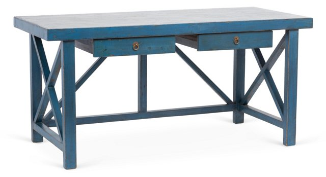 Hudson 2-Drawer Elm Desk, Blue