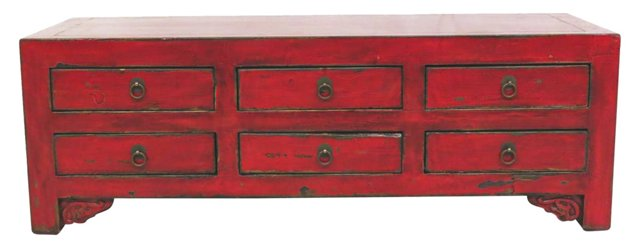 Dora 6-Drawer Low Sideboard, Red