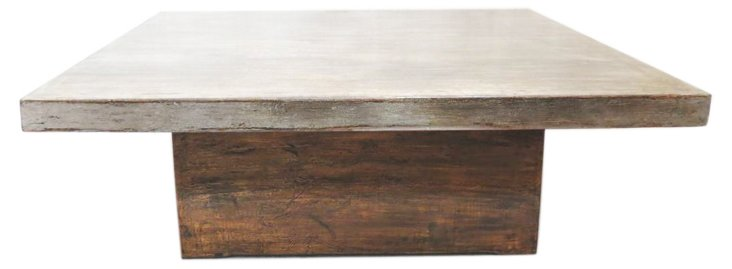 Caith Coffee Table, Silver/Natural