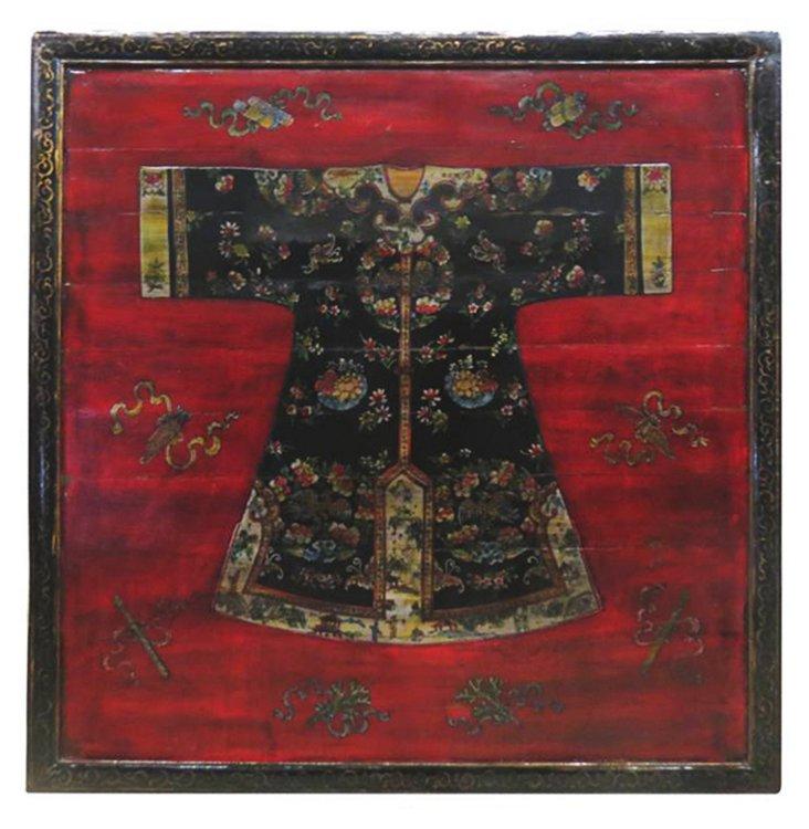 """Kimono 49"""" Wood Wall Panel II, Black/Red"""