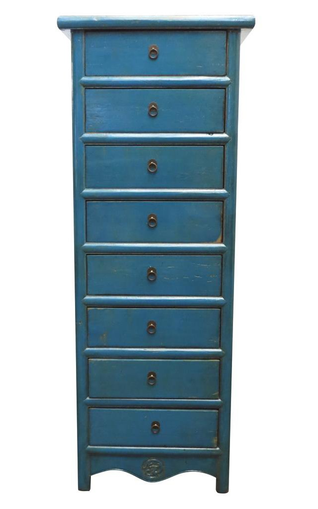 Blake 8-Drawer Tall Chest, Blue
