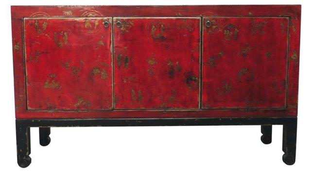 DUPLarsen 3-Door Tall Sideboard, Red