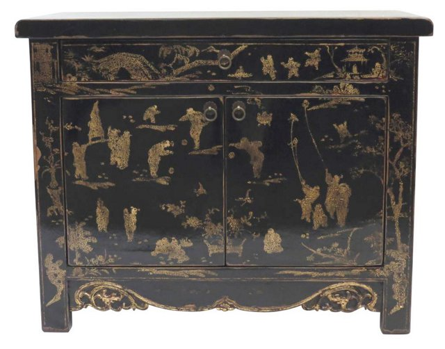 Painted Collection Cabinet, Black/Gold