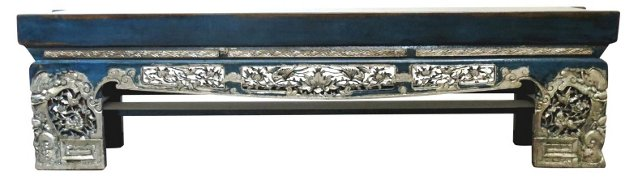 """Carved 80"""" Opium Bench, Blue/Silver"""