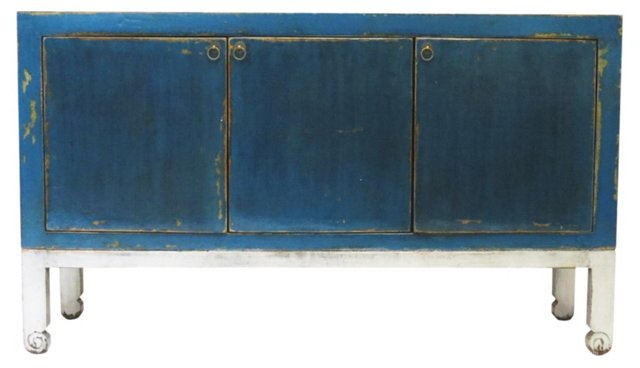 "Hill 65"" Sideboard, Blue/Silver"