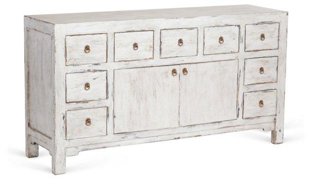 "Blythe 65"" 9-Drawer Sideboard, Silver"