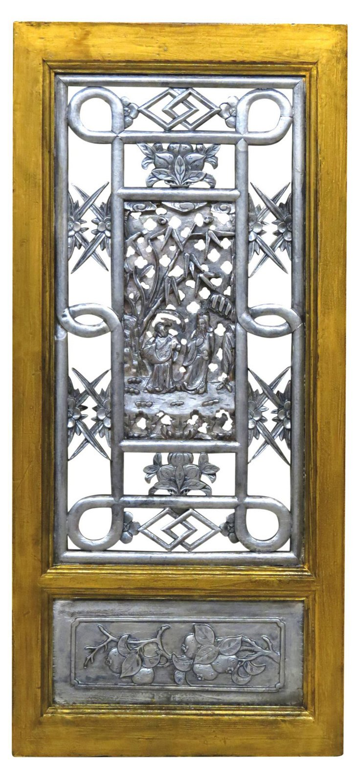 Eloise Carved Room Screen, Gold/Silver