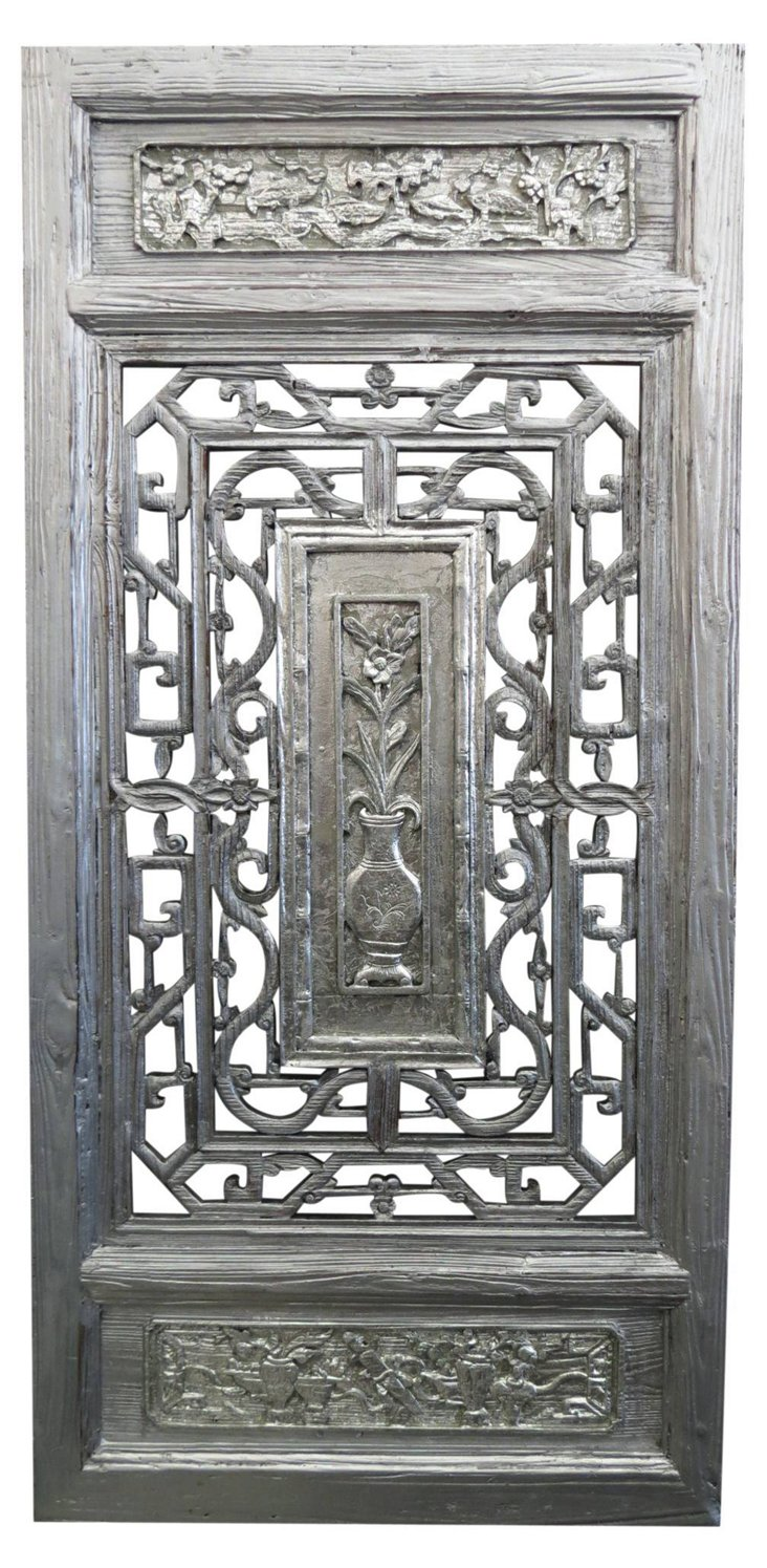 Hechi Carved Room Screen, Silver