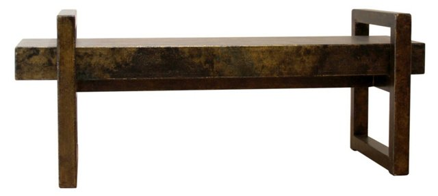 Lucius Rustic Silver and Black Bench