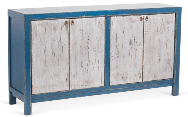 "Lani 71"" Sideboard, Turquoise/Silver"