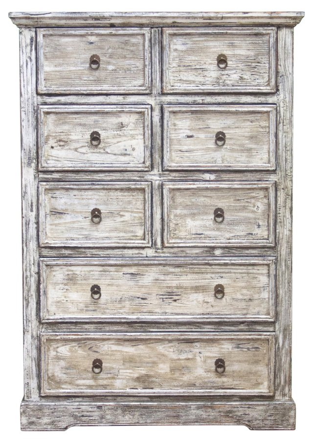"Beverly 35"" Tall Distressed Chest, White"