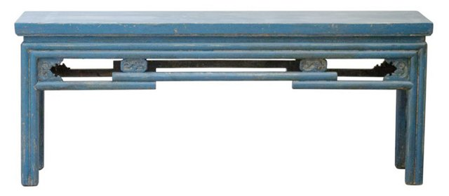 "Patrick 47"" Carved Bench, Blue"