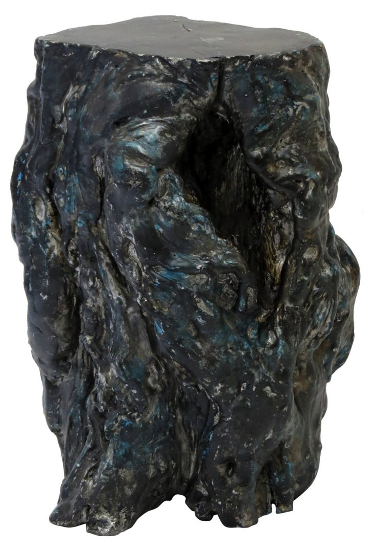 Rustic Elm Stump Stool, Blue/Silver