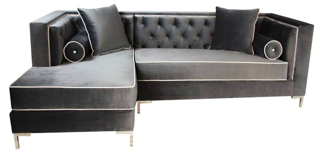 Rocco Tufted Nail-Trim Sectional, Slate