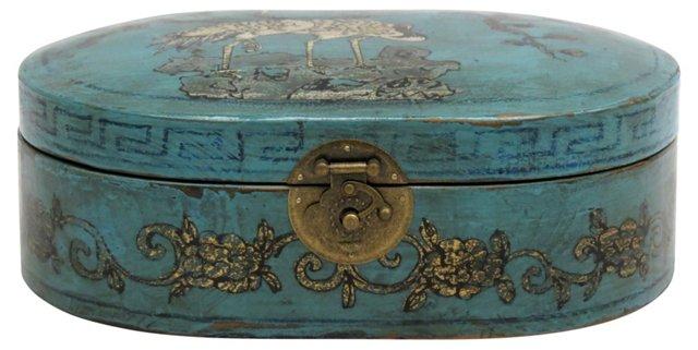 Crane Oval Elm Jewelry Box, Teal