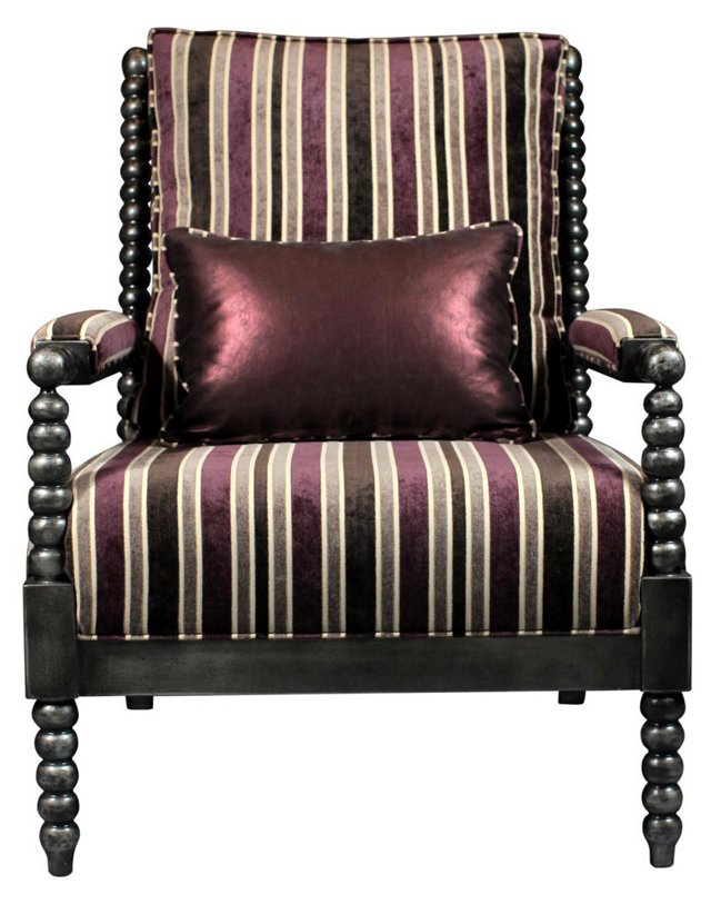 Benson Velvet Spindle Chair, Eggplant