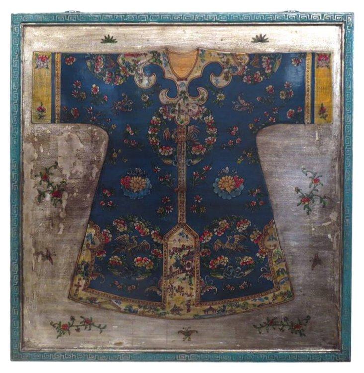 "Kimono 50"" Wood Wall Panel, Blue/Silver"