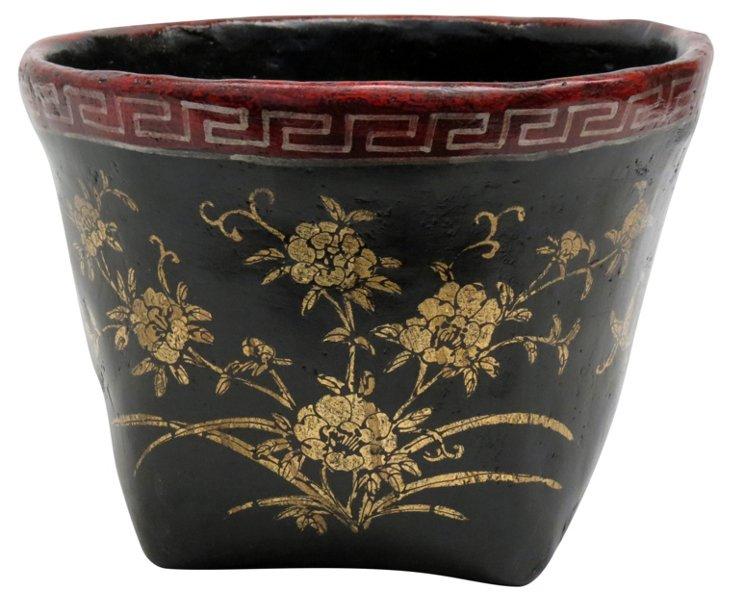 Floral Mung Bean Basket, Black/Red