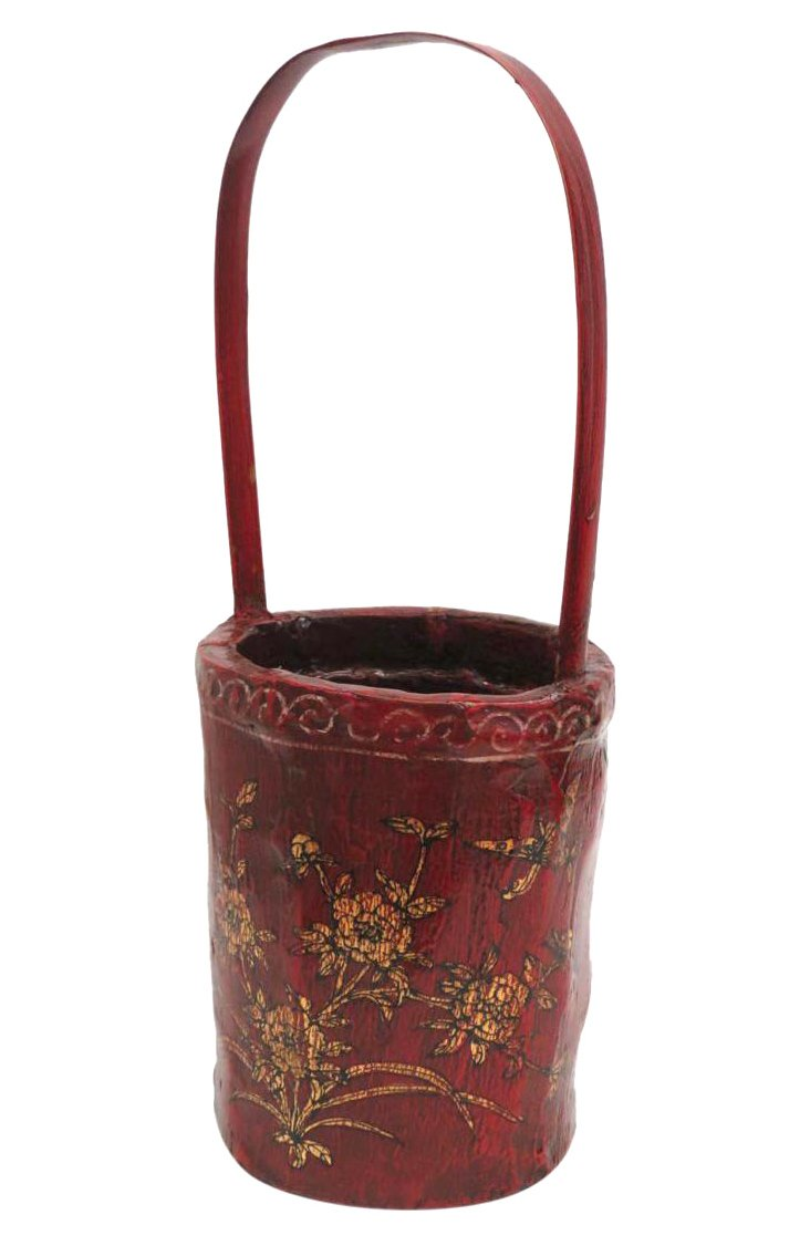 Floral Bamboo Basket, Red