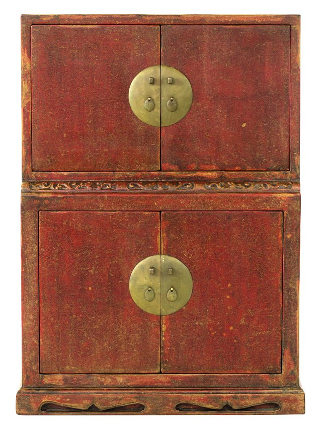 Wei Tall Bamboo Paper Cabinet, Red