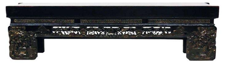"Isobel 80"" Carved Elm Bench, Gray/Gold"