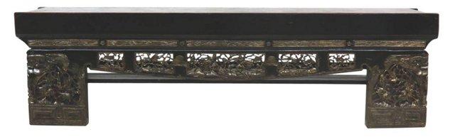 """Clarene 79"""" Carved Elm Bench, Black/Gold"""