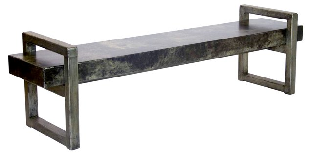 "Callister 74"" Rustic Elm Bench I, Gray"