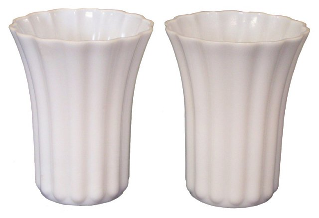 Milk Glass Vases, Pair