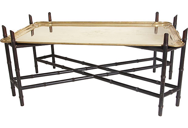 Faux-Bamboo Tray Cocktail Table