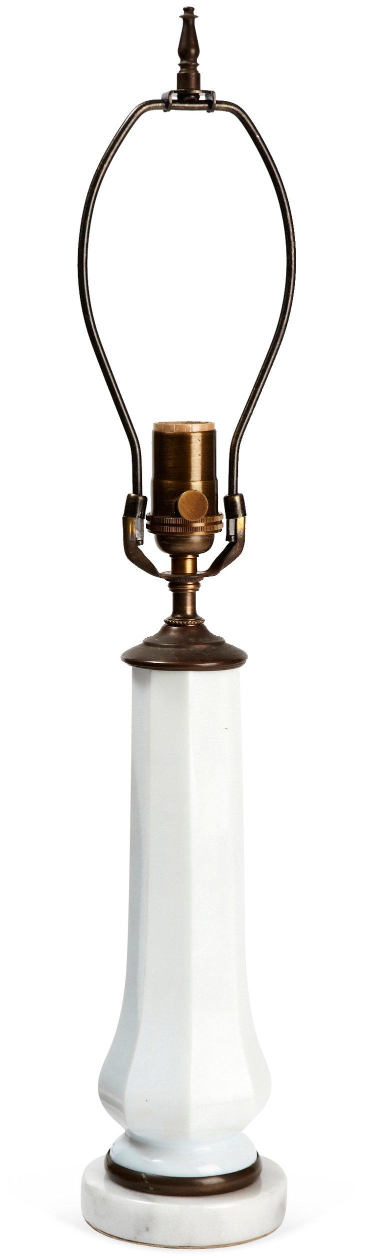 Vintage Opaline & Marble Lamp
