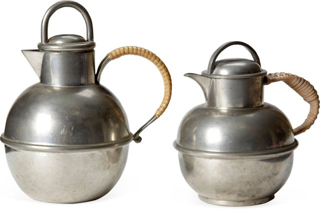 Pewter Carafes, Pair