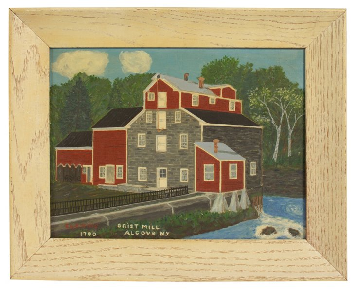 Primitive Grist Mill Painting