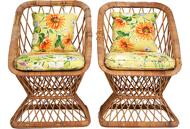 Vintage Rattan Chairs, Pair