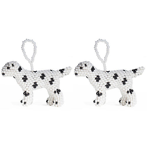 S/2 Beaded Dalmatian Ornaments, Black/White