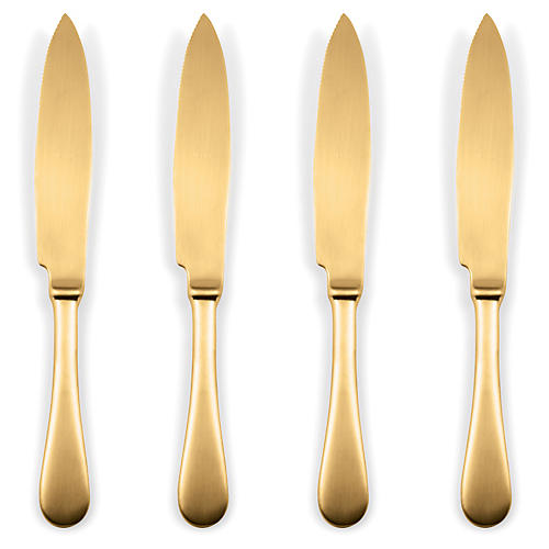 S/4 American Steak Knives, Gold
