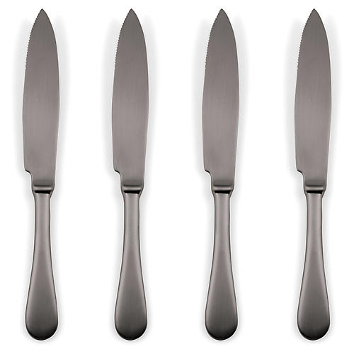 S/4 American Steak Knives, Black
