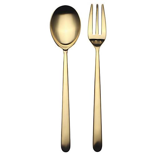 Asst. of 2 Linea Serving Set, Gold