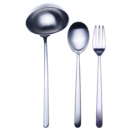 Asst. of 3 Linea III Serving Set, Dark Gray
