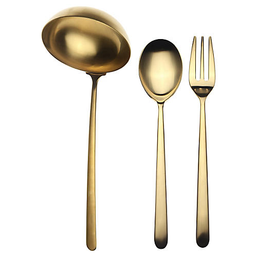 Asst. of 3 Linea III Serving Set, Gold