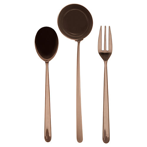 Asst. of 3 Linea III Serving Set, Bronze