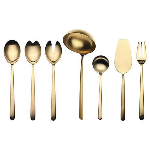Asst. of 7 Linea VII Serving Set, Gold
