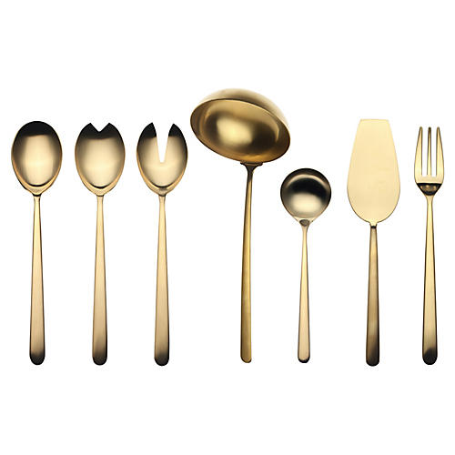 Asst. of 7 Linea VII Serving Set, Gold